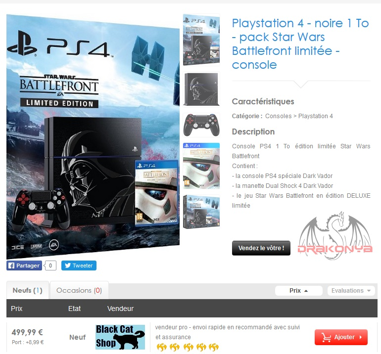PS4 Star Wars Battlefront - 500€ sur Drakonya